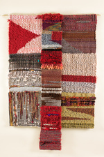 Sylvia Vander Sluis Fiber Work Weaving. Handwoven by artist. Various fibers and decorative ribbon/cord.