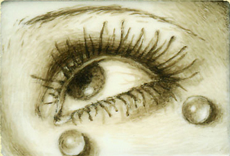 Tabitha Vevers Lover's Eye (early) Oil on piano key ivory