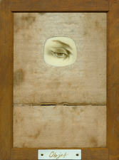 Tabitha Vevers Lover's Eye III Oil on Ivorine w/ wood contact print holder & recycled piano key ivory