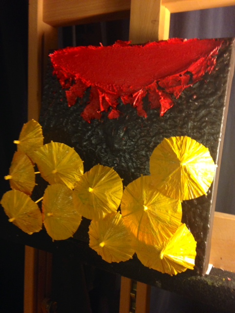 TAMMY FLYNN SEYBOLD Hong Kong Umbrella Movement project encaustic, oil and paper umbrellas on canvas