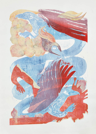 Tammy Nguyen Works on Paper Japanese woodblock with chine-collé and photocopy transfer on paper