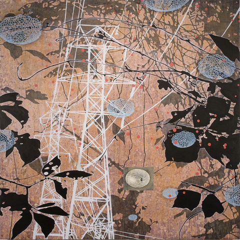 Tanja Softić Migrant Universe 2012 acrylic, pigment, chalk on paper mounted on panel
