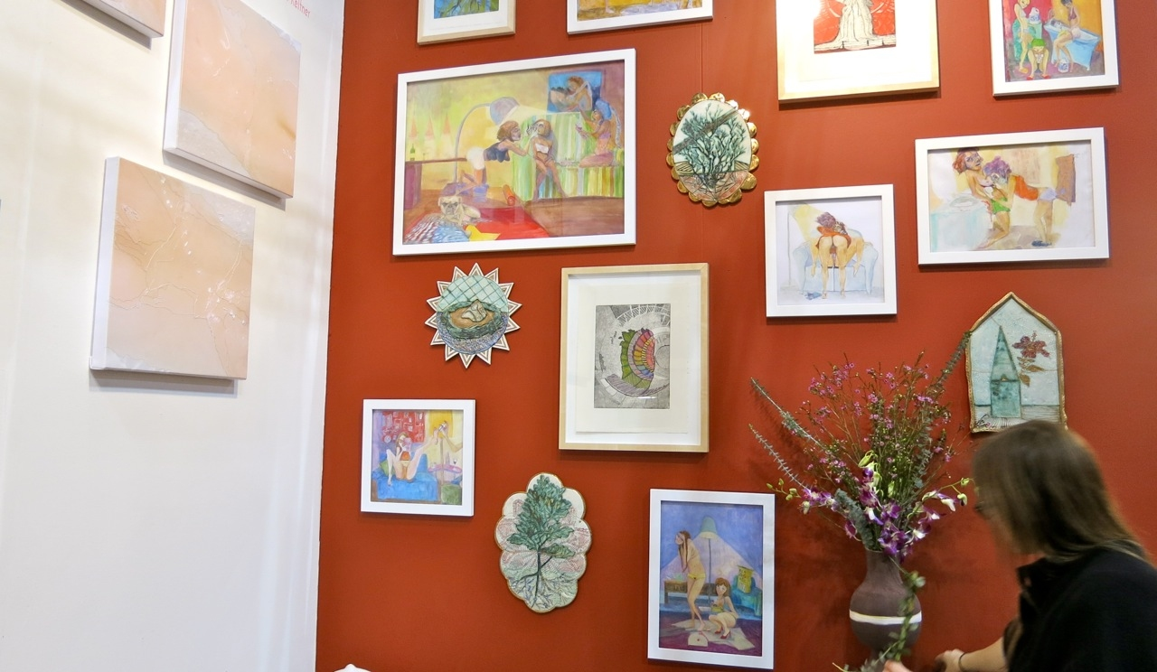 2013: tART@ Fountain Fair Red wall with work by Nikki Schiro and Julia Whitney Barnes