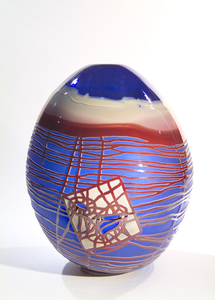 Arlan Huang Blue for Yellow 2004 Blown Glass Sandblasted