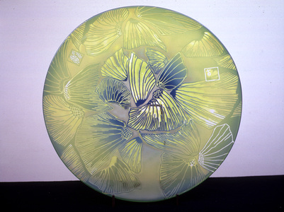 Arlan Huang Rondels Blown Glass, Sandblasted