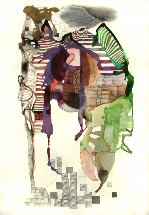 Large Works on Paper Flashe paint, color pencil, ink , collage materials on Rives de Lin paper