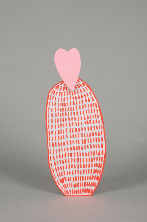 TIFFANY WOLLMAN 2011 Acrylic latex and flourescent paint on hand cut wood