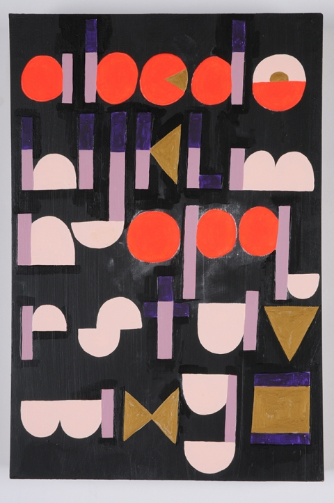 TIFFANY WOLLMAN 2010 Acrylic latex, metallic and flourescent paint on chalk board paint on wood