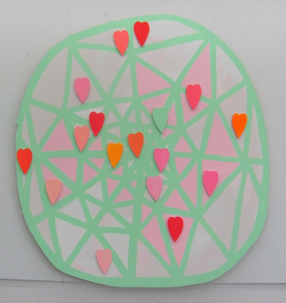 TIFFANY WOLLMAN 2010 Acrylic latex and flourescent paint on hand cut wood