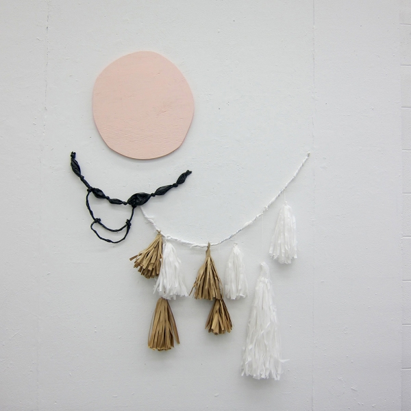TIFFANY WOLLMAN 2011 Acrylic latex on hand cut wood, garbage bags, grocery bags and paper bags on wall