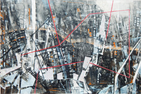"Tina Grondin  ""Save As"" oil, bound graphite, mixed media collage on canvas"