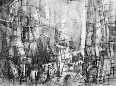 "Tina Grondin  ""From Emptied Spaces"" graphite on paper"