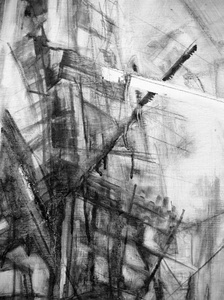 "Tina Grondin  ""From Emptied Spaces"" bound graphite on canvas"