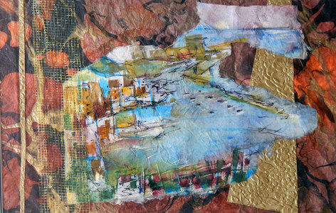 "Tina Grondin  ""Save As"" water color/ mixed media collage"