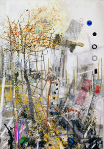 "Tina Grondin  ""Save As"" oil / mixed media collage"