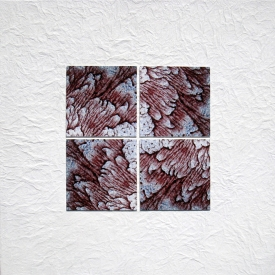 Tina Seligman Counterpoints 2 (2008) digital pigment prints on Hahnemuhle rag, Unryu, block  printing ink, museum board on canvas