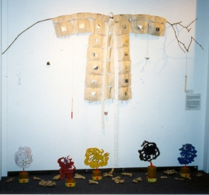 Tina Seligman Soundscape: China Chinese paper joss, joss incense, silk thread, ink, wood, metal, ceramic, water, chamois, acrylic, ginger