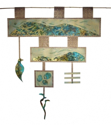 Tina Seligman Wind and Water collage, silk brocade, bamboo