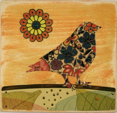 TIN CAN SALLY • Sally Seamans • Recycled Tin Art and Jewelry collage birds