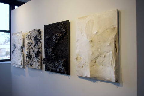 Tomoko Amaki Abe Wall work Porcelain, Abaca paper, wood ash