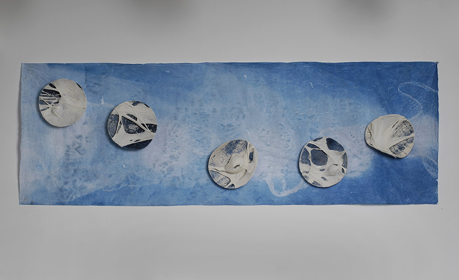 Tomoko Amaki Abe Installation ceramic on cyanotype print