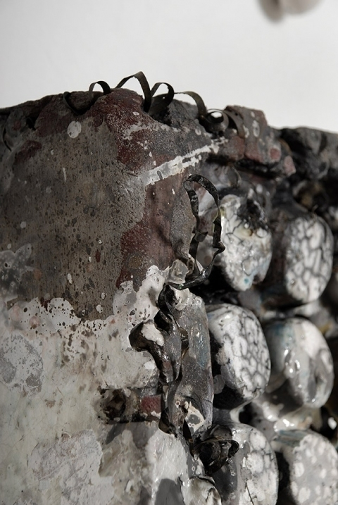 Tomoko Amaki Abe Installation Raku Clay, steel, glaze