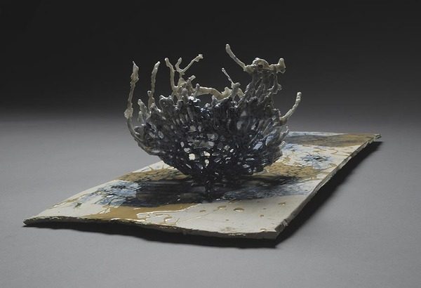 Tomoko Amaki Abe Ceramics cotton, low fire clay, glazes, oxides, resin