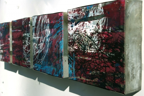 Tomoko Amaki Abe Wall work acrylics on canvas,  steel