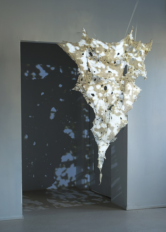 Tomoko Amaki Abe 2012 handmade abaca paper, porcelain, film projection