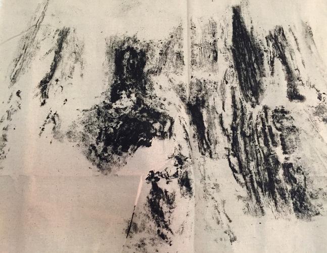 Tongji Philip Qian recent works Tree bark printed on cloth