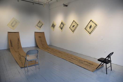 Tongji Philip Qian O.E. Installation Eight silkscreen prints, twenty-eight wooden push pins, and two chairs