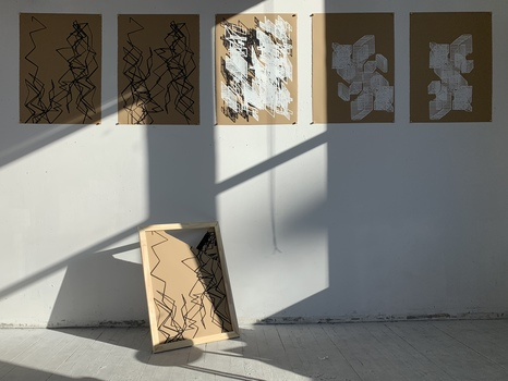 Tongji Philip Qian To Installation 5 silkscreen prints, 25 wooden push pins, and 1 wooden frame with 3 proofs
