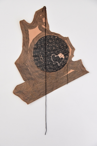 Tongji Philip Qian recent works Ink, wool, and brass nails on vegetable-tanned leather