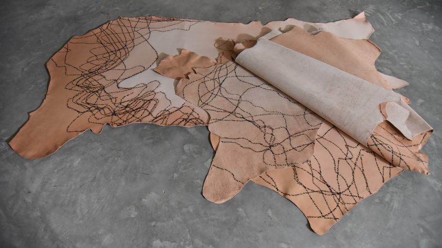 Tongji Philip Qian recent works Permanent marker on vegetable-tanned leather