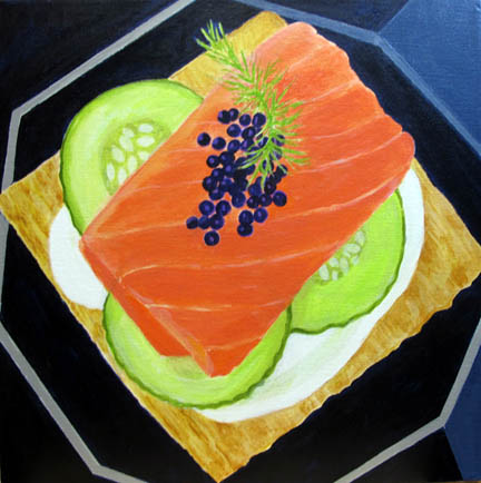 Food Salmon and Caviar Canape