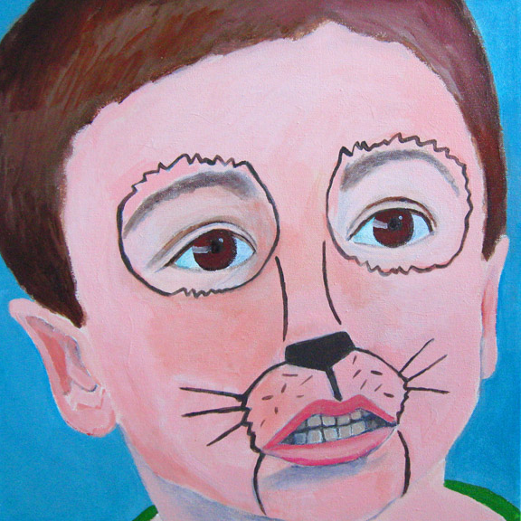 Figurative Boy with Lion Face Paint