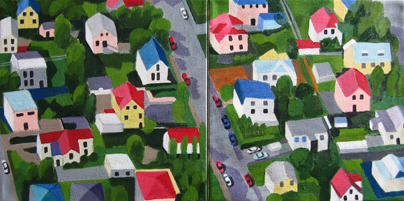 Aerialscapes Houses in Iceland, diptych SOLD