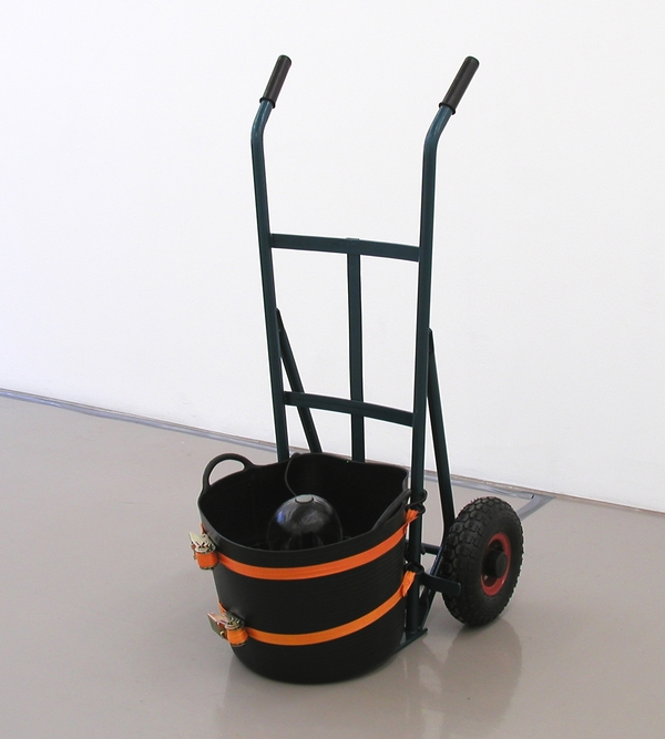 TONY SCHWENSEN Errors of Judgement 2003 Sarah Cottier Gallery, Sydney, Australia Trolley, Strapping, Pump, Water, Rubber
