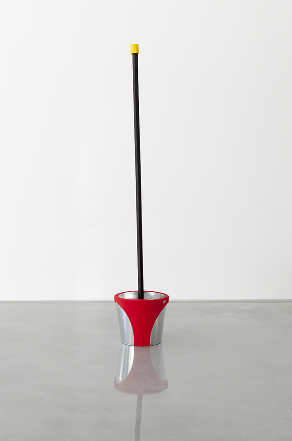 TONY SCHWENSEN Historical Revisionism Or: How I Learnt to Stop Worrying & Embrace Australian Values 2015 Sarah Cottier Gallery, Sydney, Australia Concrete, Galvanised Steel Bucket, Star Post, Star Post Cap, Speedo