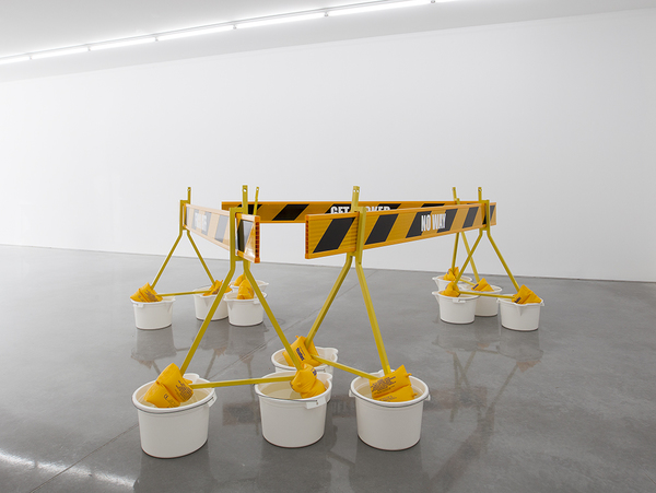 TONY SCHWENSEN Historical Revisionism Or: How I Learnt to Stop Worrying & Embrace Australian Values 2015 Sarah Cottier Gallery, Sydney, Australia Road Barriers, Buckets, Floaties, Water