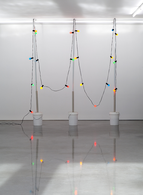 TONY SCHWENSEN Historical Revisionism Or: How I Learnt to Stop Worrying & Embrace Australian Values 2015 Sarah Cottier Gallery, Sydney, Australia Concrete, PVC, Buckets, Lights