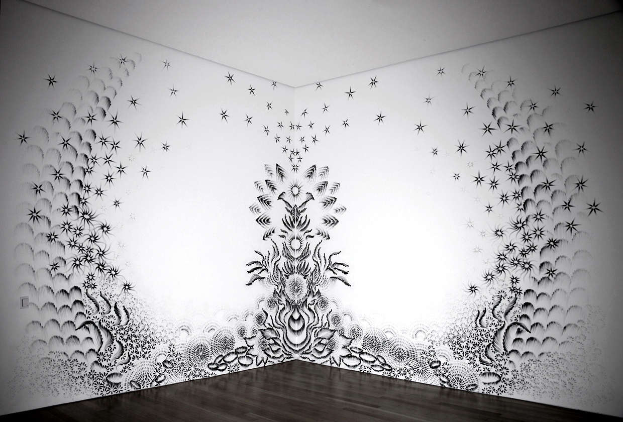 Tree of Life Judith Braun charcoal fingerprints on wall