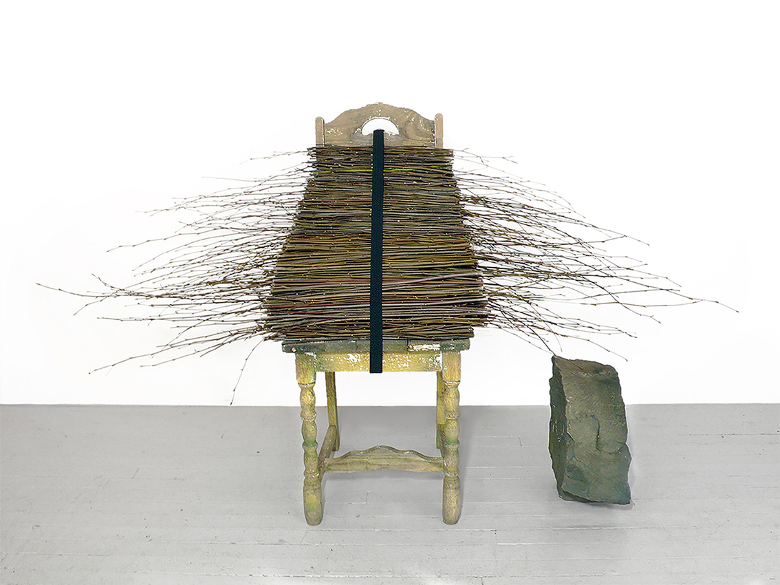 Tree of Life Betty Beaumont oak chair, beech sapling branches, elastic belt, basalt stone