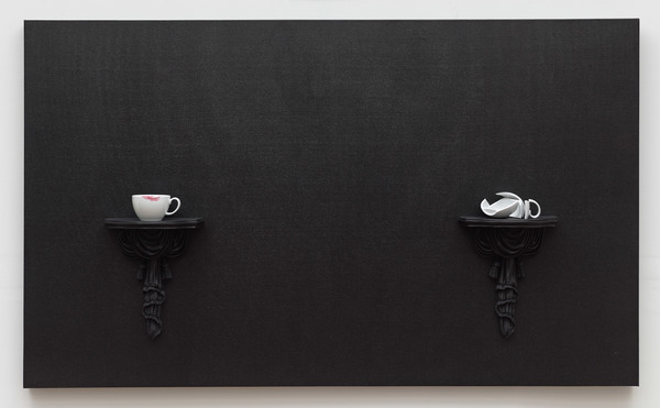 Tricia Wright Marginalia acrylic on canvas, polyurethane, ceramic, lipstick