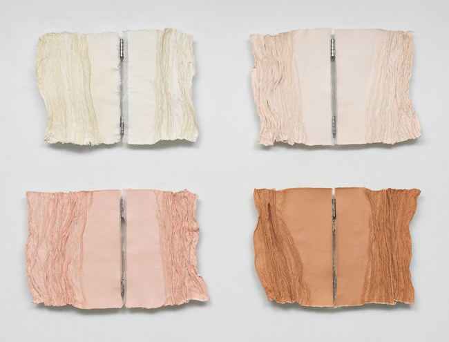 Tricia Wright Dieu Donné Projects Handmade pigmented cotton and abaca paper, steel hinges