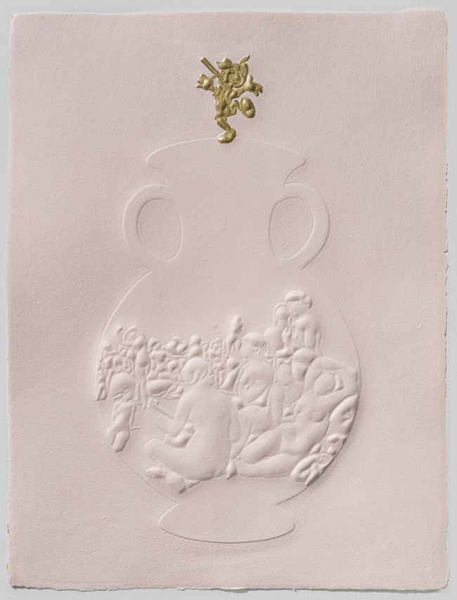 Tricia Wright Dieu Donné Projects Handmade pigmented cotton paper embossed with custom-made 3D form, gold leaf