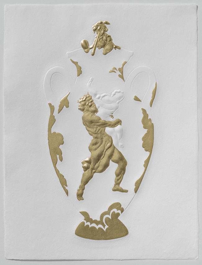 Tricia Wright Museum Specimens Handmade cotton paper embossed with custom-made 3D form, gold leaf
