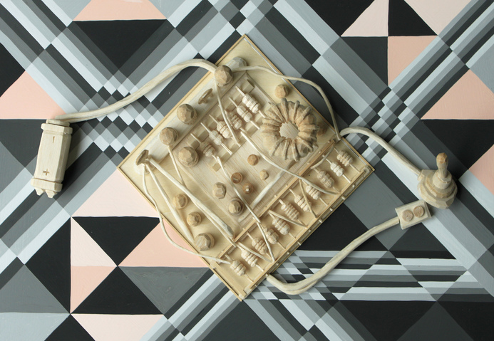 Tricky Walsh Dirty Geometry (sculptures) Gouache, Basswood and Balsa wood on Maple