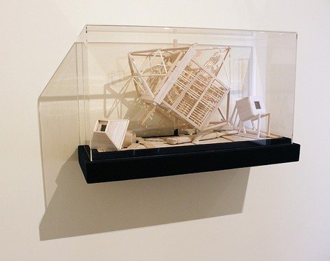Tricky Walsh science fictions balsa wood, lenses,concave mirrors, plywood & acrylic box