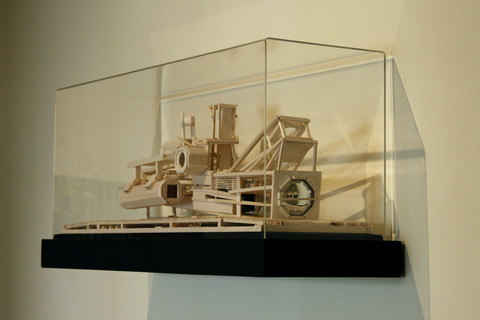 Tricky Walsh science fictions balsa wood, plywood, iceland spar, concave mirrors & lenses, pentaprisms & acrylic box